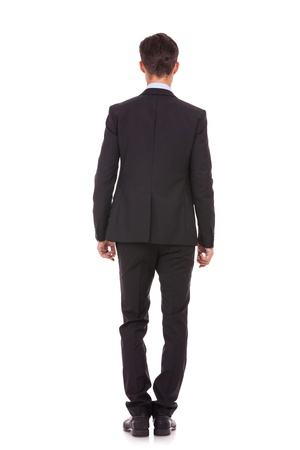 back picture of a business man . Isolated on white background.  Stock Photo - 15737994