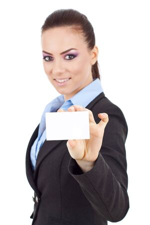 notecard: Portrait of young business woman holding blank business card isolated on white background