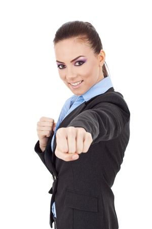 garde: young business woman fighting with you - en garde position  Stock Photo