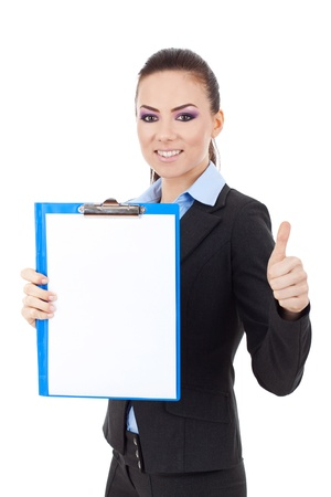 picture of a young business woman holding a clipboard and showing thumbs up  photo