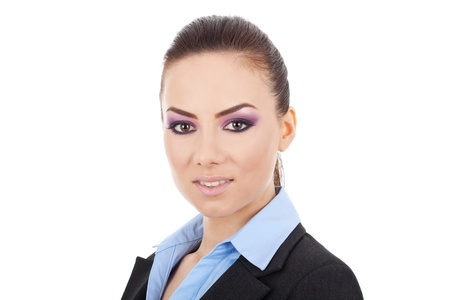 front view close up of a young business woman looking at the camera, on a white background photo