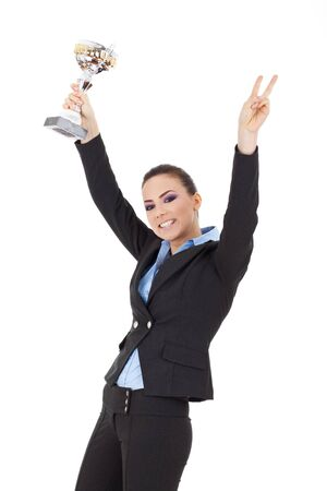Portrait of an excited young business woman winning a trophy against white background Stock Photo - 15738011