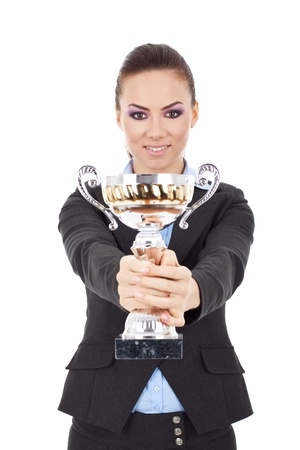 Portrait of a pretty young business woman with trophy award against white background  Stock Photo - 15738222
