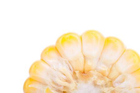 elote: cerca de una pieza cortada de maíz amarillo