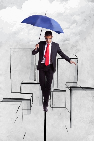 equilibrium: Business man in equilibrium on a rope over an illustrated  cityscape Stock Photo