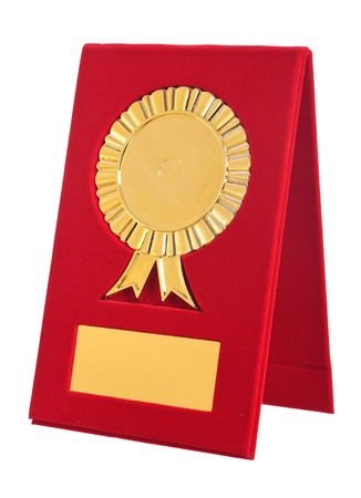 golden award with blank space for your text on white background photo