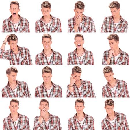 expresiones faciales: joven rostro ocasional expresiones collage hombre aislado sobre fondo blanco