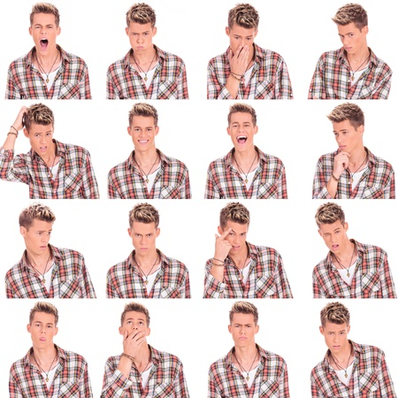 young casual man face expressions collage isolated on white background photo