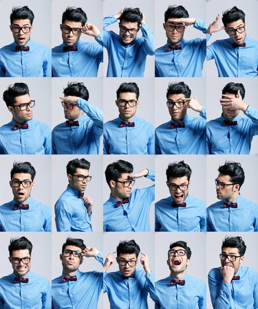 collage people: portraits with different expressions of a young man on light gray background