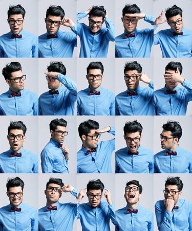 collage caras: retratos con diferentes expresiones de un hombre joven sobre fondo gris claro