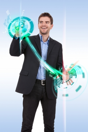 business man pushing  progress buttons on a touch screen interface Stock Photo - 17242322