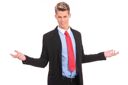 approachable: Approachable young business man with open arms isolated  Stock Photo