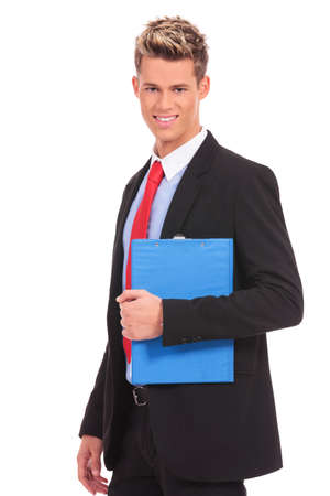 young business man with a blue notepad on white background photo