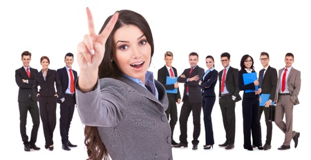 succesful woman: Succesful business woman and her victorious team isolated over a white background