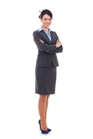 mujer cuerpo entero: Joven mujer de negocios feliz, aislado en blanco