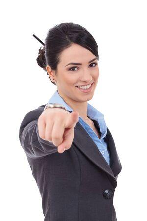 dedo se�alando: imagen de mujer de negocios atractivo apuntando con su dedo Foto de archivo
