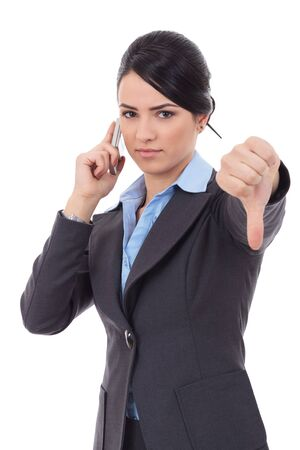 business woman with thumb down gesture and mobile phone Stock Photo - 17449726