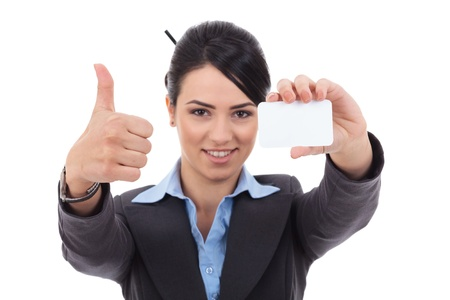 card making: Female holding blank business card, making ok sign , focus on hands and card