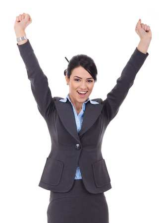 winning woman: Happy cheering businesswoman winning excited looking at camera.