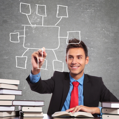 business man drawing a blank checkbox list, while sitting at his desk full of books photo