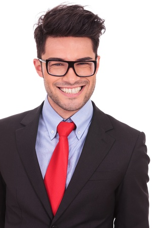 young business man smiling with his mouth up to his ears, isolated on white background photo