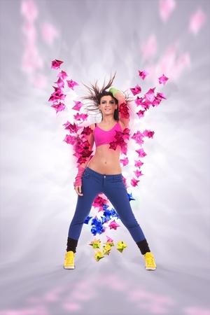 bailarina apasionada mujer joven en una hermosa soñadora plantean sobre un fondo colorido oregamy 3d cifras