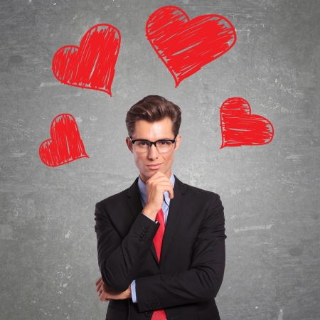 inlove: young business man is in love Stock Photo