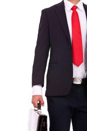 knipsel beeld van een jonge zakenman met een aktetas. geïsoleerd op witte achtergrond Stockfoto
