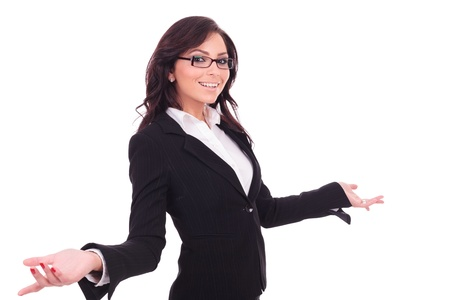 welcoming: young business woman welcoming you with a smile on her face and opened arms. on white background Stock Photo