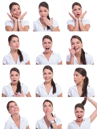 young woman face expressions composite isolated on white background Stock Photo - 19898013