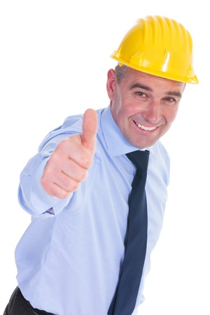 senior engineer showing you the thumbs up sign and smiling. isolated on white background photo