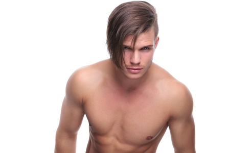 young fashion topless man looking deep into your eyes. isolated on white background Stock Photo - 20304545