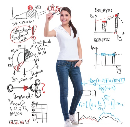 fees: full length picture of a casual young woman writing calculations and graphs while holding her other hand in the pocket. isolated on white background