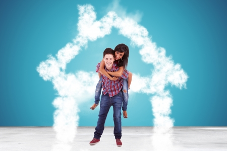 in love couple standing in a house made of clouds and looking at the camera photo
