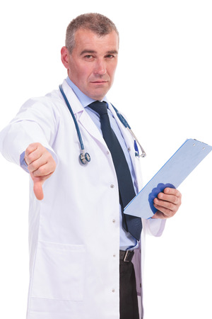 bad news: mature doctor with very bad news