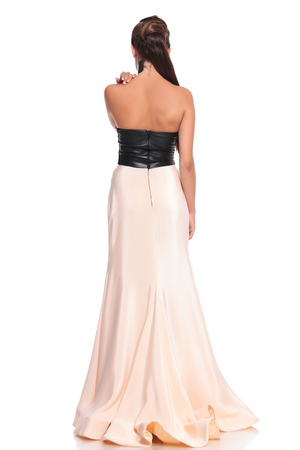 woman from behind: picture from behind of a young woman in beautiful gown on white background Stock Photo