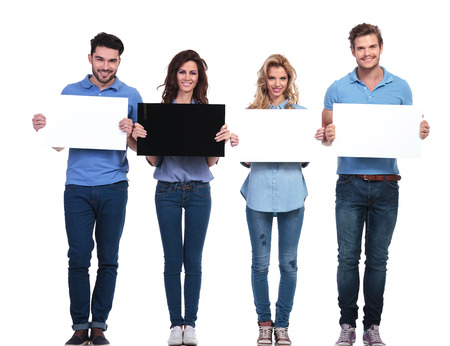 banner ad: group of casual people presenting blank cards, one woman holding black board