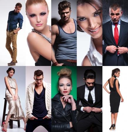 moda ropa: diez personas diferentes collage, estudio fotos juntos