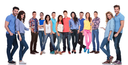 two couples of young casual people inviting you to join their team photo