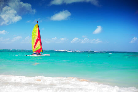 republic dominican: catamaran sailing in the caribbean sea, dominican republic