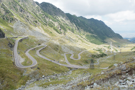 highest: picture of the Transfagarasan road, the road over the Fagaras Mountains, the second-highest paved road in Romania at 2034 metres Stock Photo