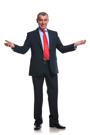 full length photo of a middle aged business man welcoming you with his arms wide open. isolated on a white  photo