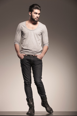 grey  hair: young male model with beard in a fashion pose looking to his side