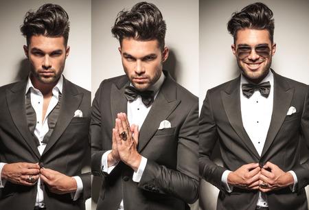 hombres jovenes: imagen Collage del mismo hombre atractivo joven en smoking, desabroch�ndose la chaqueta y la oraci�n