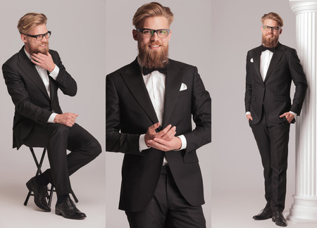 ties: 3 poses of an elegant man with long beard in tuxedo suit and bow tie