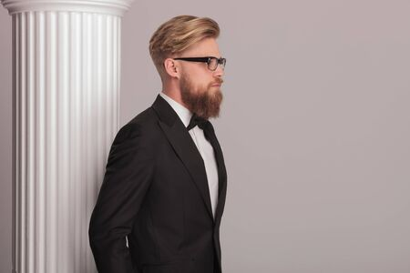 near side: Side view picture of a elegant blonde business man posing near a white column. Stock Photo