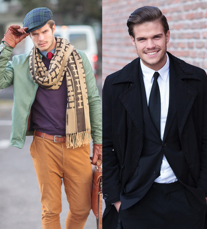collage picture of the same man wearing different clothes, casual and business photo