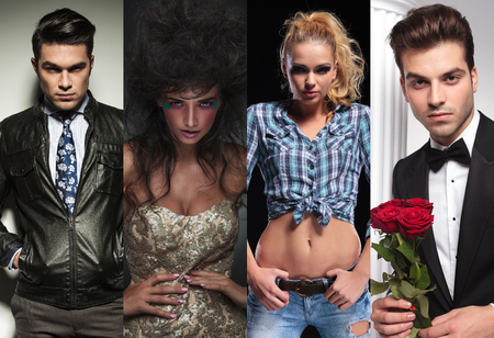 collage image of four different styles of young sexy people photo