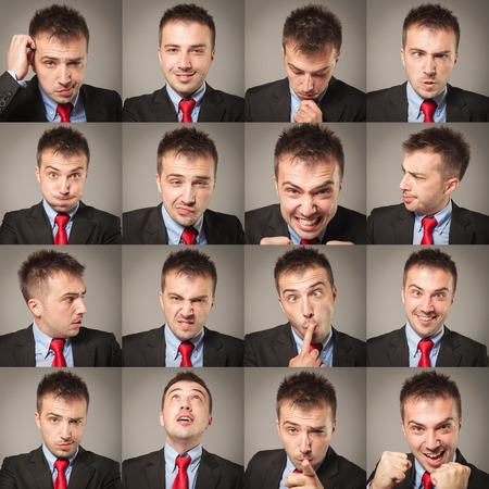 Young business man face expressions composite on gray background. Handsome young man making faces photo