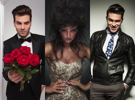 male models: collage picture of three fashion models posing in studio. man in tuxedo  offering flowers. beauty woman posing. casual businessman standing with hands in pockets